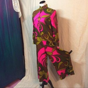 1960's Wide Leg Hawaiian Jumpsuit